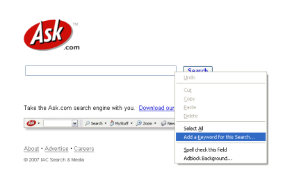 Adding a keyword search for Ask.com