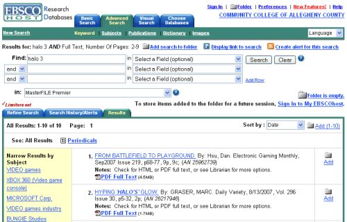 Ebsco search results